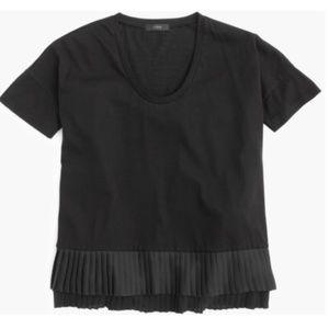 NEW J.Crew Pleated Chiffon Hem Black T-Shirt